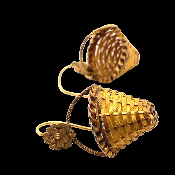 Georgian Basket Earrings Ca 1830 - image 1