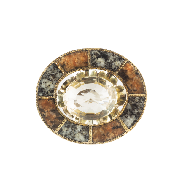 A Citrine and Agate Gold Brooch by Jamieson of Aberdeen - image 1