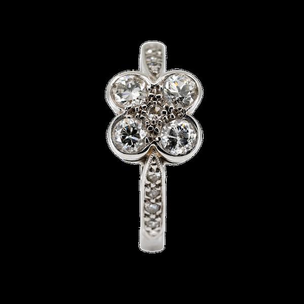 4 stone diamond ring with diamond shoulders - image 1