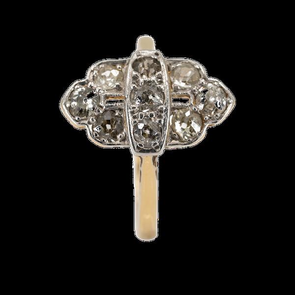 Art Deco diamond marquise shape cluster ring - image 1