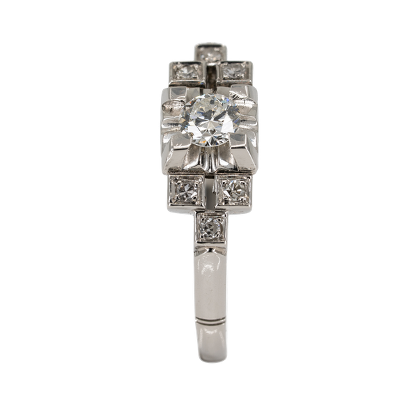Art Deco one plus 6 diamond cluster ring - image 1