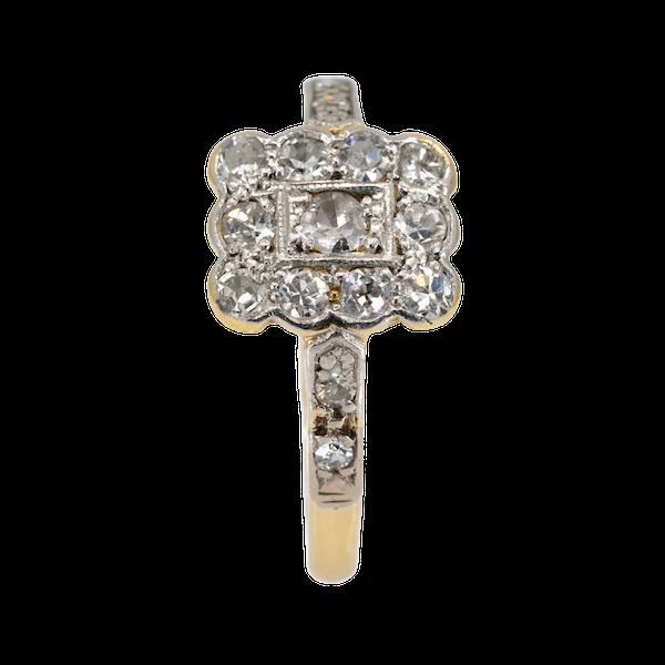 Art Deco rectangular diamond cluster ring - image 1