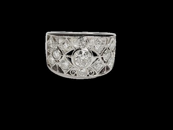 Wide lattice diamond dress ring sku 4937  DBGEMS - image 1