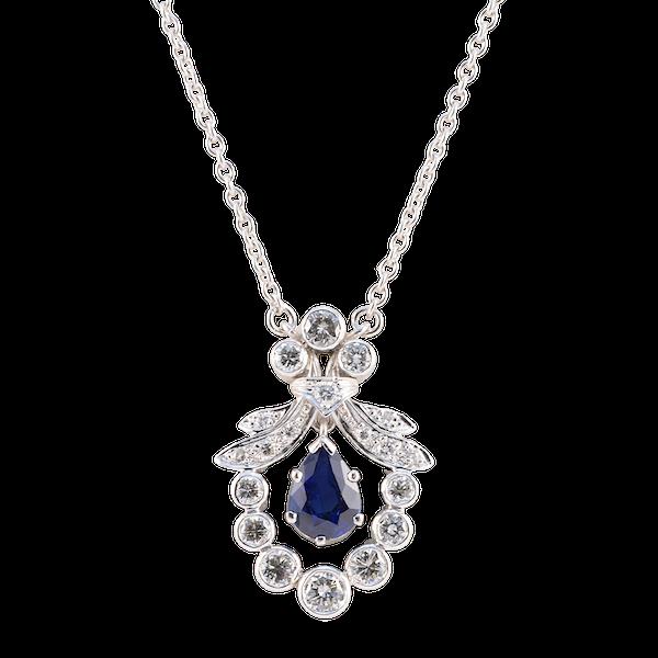 Sapphire Diamond Pendant in Platinum with 18ct White Gold Chain date circa 1950, SHAPIRO & Co since1979 - image 1