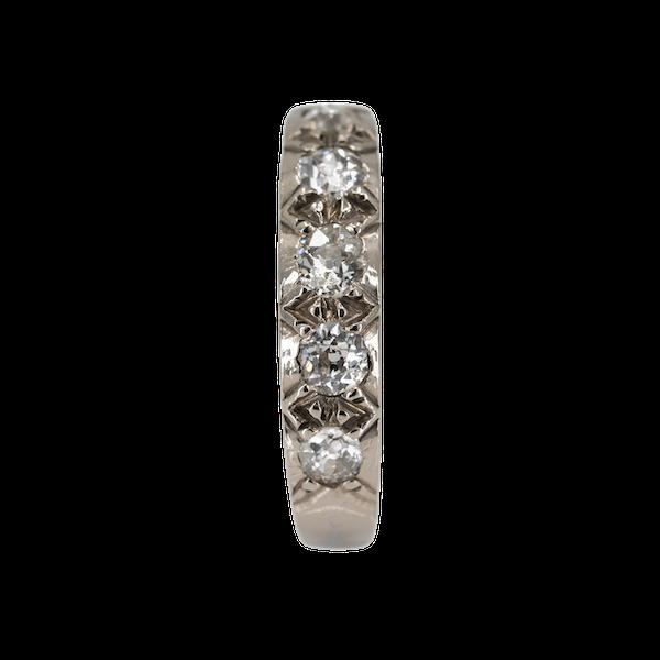 Diamond 5 stone half hoop band ring - image 1