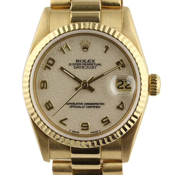 Rolex Datejust. 31mm case. Model 68278 Midsize 18K Yellow Gold with President Bracelet. Year 1994 - image 1