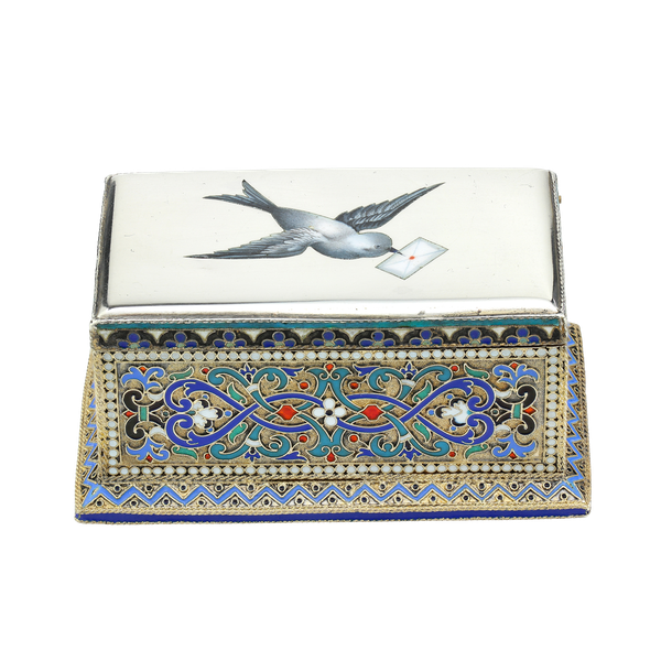 Russian silver-gilt, cloisonné and pictorial enamel stamp box.Moscow 1888 - image 1
