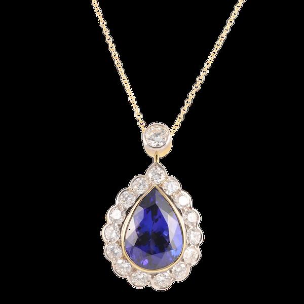 Tanzanite Diamond Pendant in 18ct Yellow/White Gold, Tanzanite 8ct approximately date circa 1970, SHAPIRO & Co since1979 - image 1