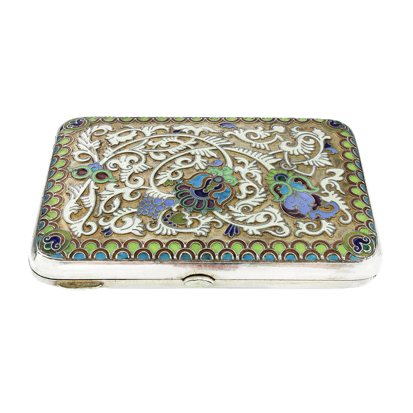 Russian silver gild and cloisonné enamel cigarette case, Moscow 1890s by BиK - image 1