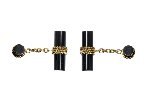 Vintage Onyx Baton Cufflinks in 18 Carat Gold - image 1