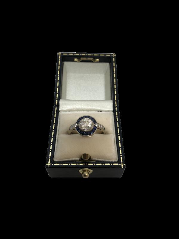 Art Deco style diamond sapphire target ring - image 1
