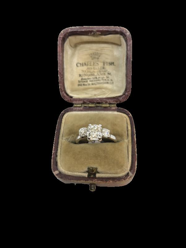 1.45 Art Deco French cushion-cut Diamond ring - image 1