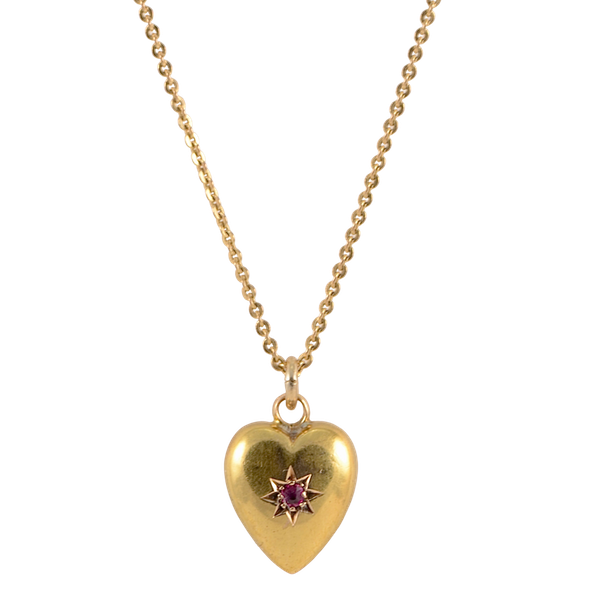 Heart Ruby Pendant in 15ct Gold date Chester 1885, SHAPIRO & Co since1979 - image 1