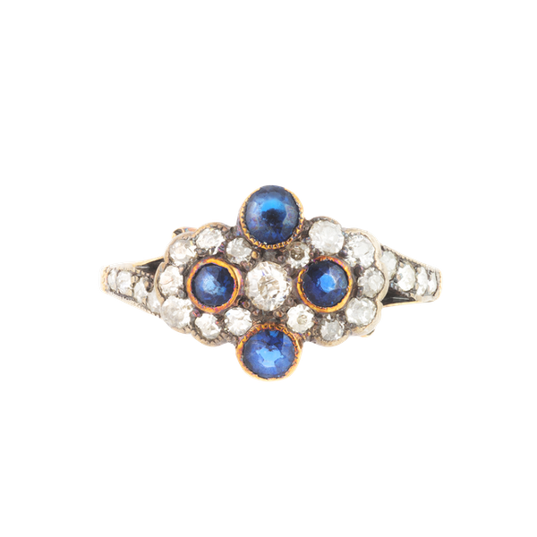 A Sapphire and Diamond Double Daisy Ring - image 1