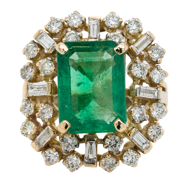 Large emerald and diamond cluster  ring - image 1
