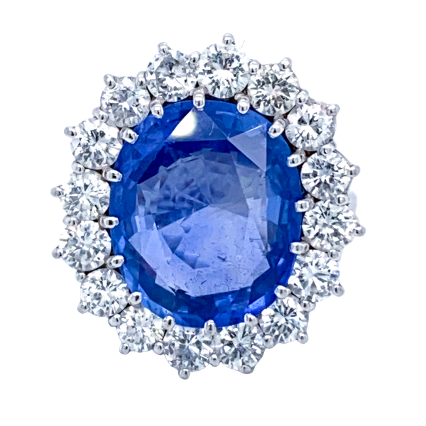 Large sapphire and diamond cluster ring. Certificated - image 1