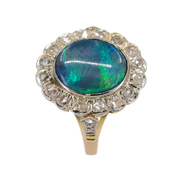 Diamond and black opal cluster ring - image 1