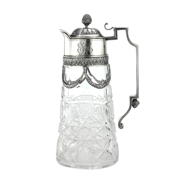 Russian Faberge silver and crystal cut glass Claret Jug, Moscow c.1900 - image 1
