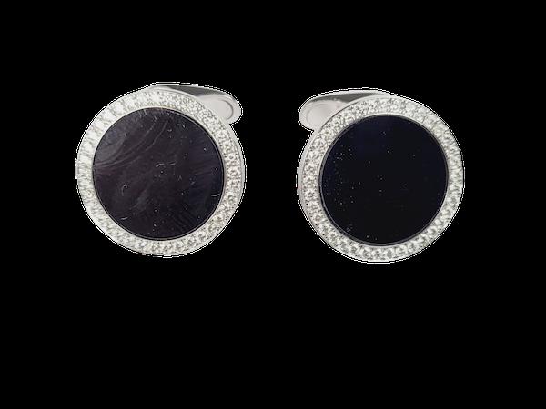 Onyx and diamond cufflinks sku 4945  DBGEMS - image 1