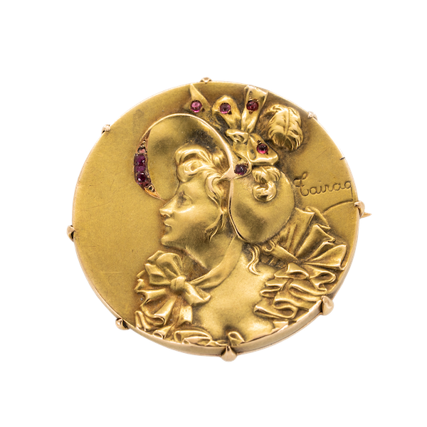 Art Nouveau 18 ct gold French brooch of a ladies profile signed Cairag - image 1