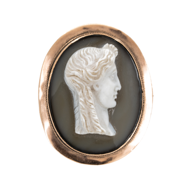 Hard stone cameo brooch of Apollo in 9 ct mount - image 1