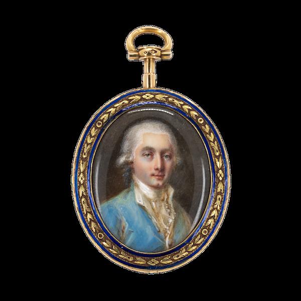 18 ct gold miniature of a Swiss Gentleman in enamel - image 1