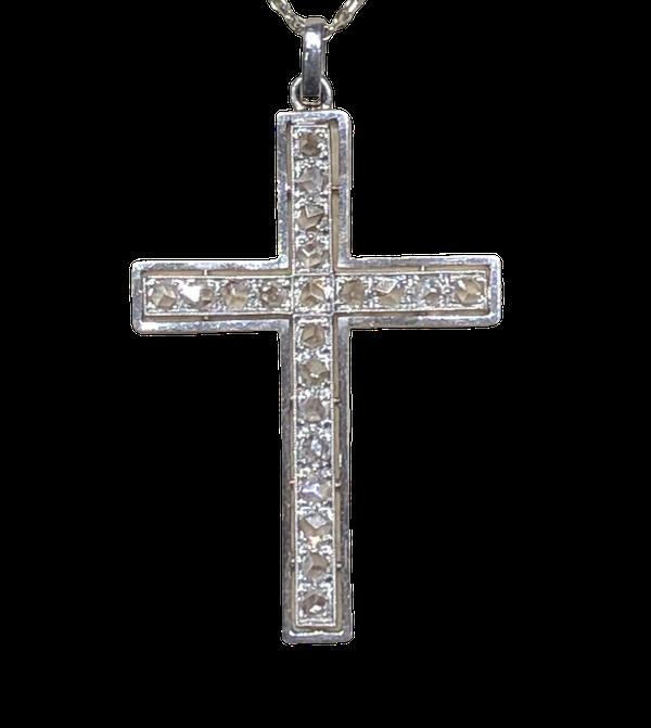 Art Deco Diamond Cross Pendant - image 1