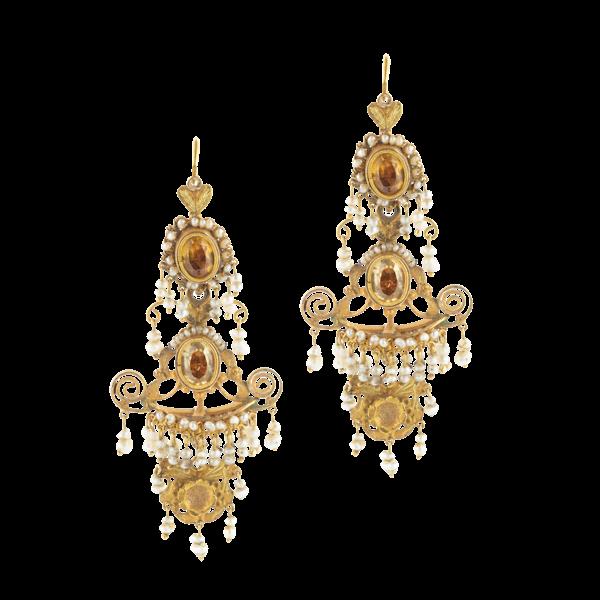 A pair of Italian Georgian Chandelier Earrings - image 1