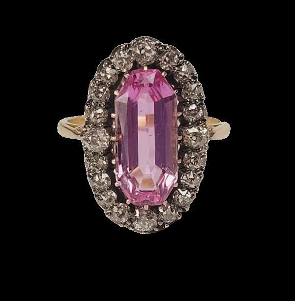 Rare intense pink topaz and diamond ring sku 4952  DBGEMS - image 1