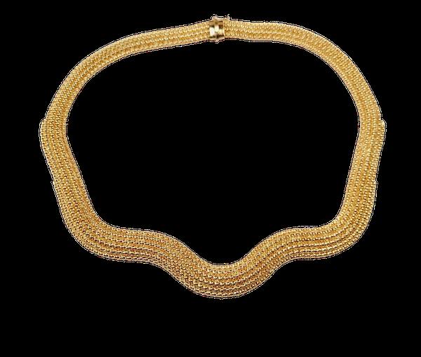 Vintage 18ct gold woven wave collar necklace sku 4964  DBGEMS - image 1