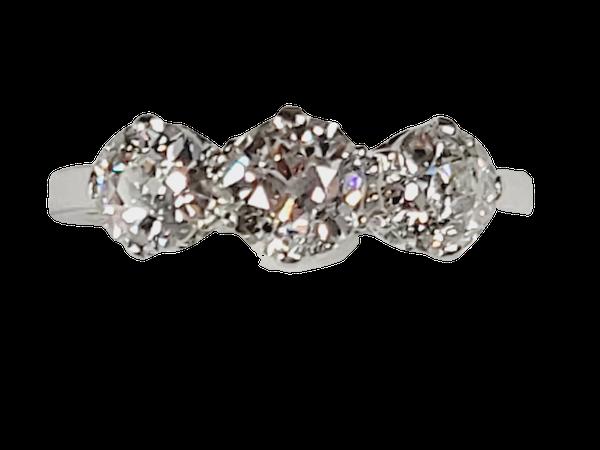 Antique Art deco old cut diamond three stone ring sku 4963  DBGEMS - image 1