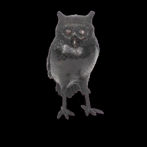 Japanese bronze owl koro - image 1