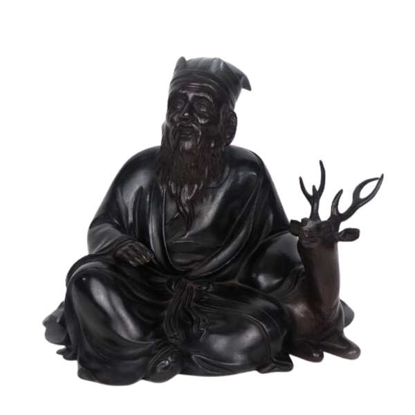 Japanese bronze sculpture of Jurojin and a dear - image 1