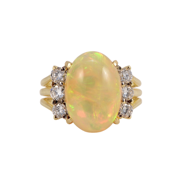 Opal (Ethiopian 8ct approximately) Diamond Ring in 18ct Gold date circa 1980, SHAPIRO & Co since1979 - image 1