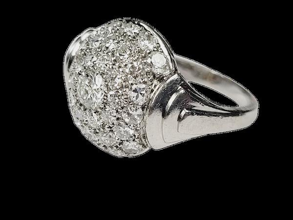 French Art deco pave diamond bombe ring sku 4966  DBGEMS - image 1