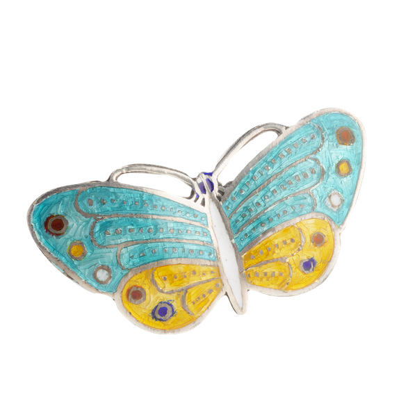 A Blue and Yellow Enamel Silver Butterfly - image 1