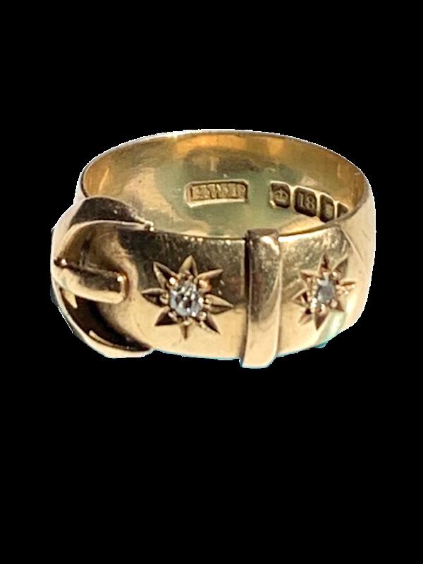 Diamond star design 18ct gold buckle ring. Spectrum - image 1