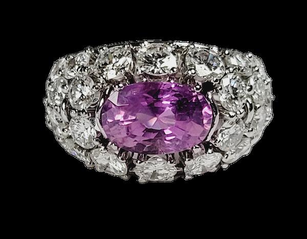 Hot pink sapphire and diamond dress ring sku 4968  DBGEMS - image 1