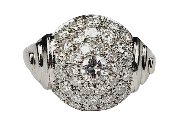 Art deco bombe diamond ring sku 4967  DBGEMS - image 1