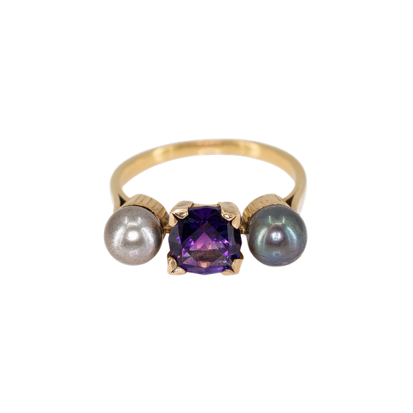 An Amethyst and Grey Pearl Ring Offered by The Gilded Lily - image 1