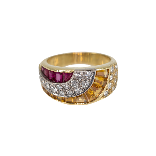 A Ruby and Citrine Ring Offered by The Gilded Lily - image 1
