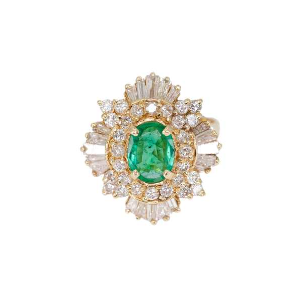 An Emerald and Diamond Cluster Dress Ring Offered by The Gilded Lily - image 1