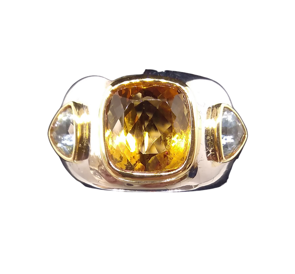 Golden Citrine and Aquamarine Ring - image 1