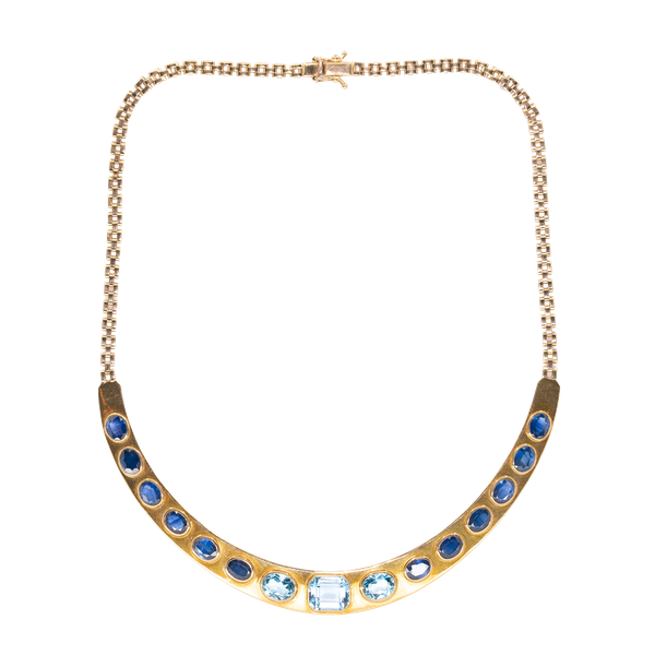 A Sapphire and Blue Topaz Necklace and Matching Bangle Offered by The Gilded Lily - image 1