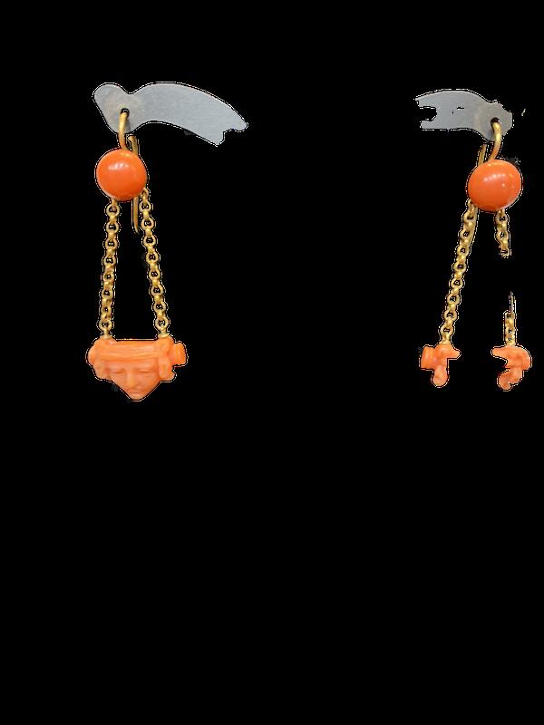 C19th coral drop earrings - image 1