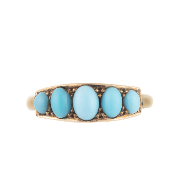A Five Stone Turquoise Gold Ring - image 1