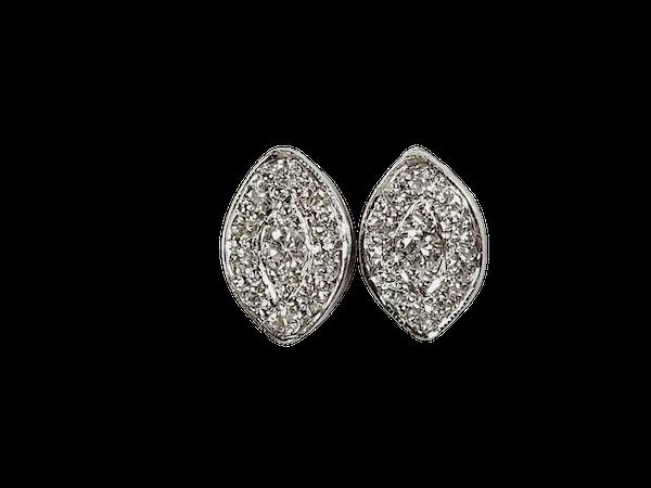 Marquise shaped diamond cluster stud earrings sku 4970 DBGEMS - image 1