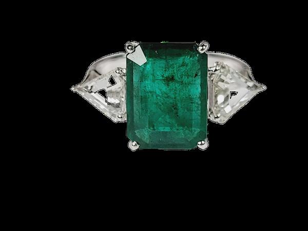 3.70ct emerald and diamond ring sku 4971 DBGEMS - image 1