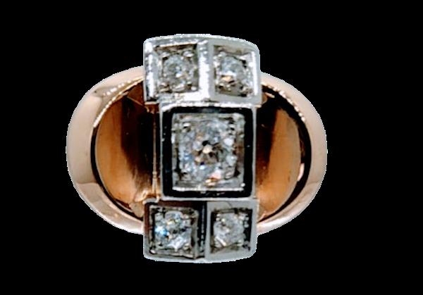 French Retro Rose Gold Diamond Ring - image 1