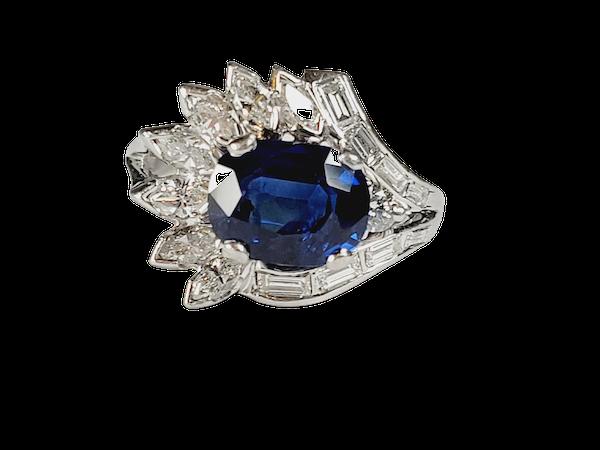 Stunning Sapphire and Diamond stylised feather ring sku 4974  DBGEMS - image 1